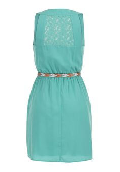 lace upper back dress with embroidered belt