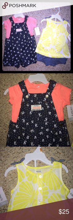 Bundle of 12 mo infant matching outfits NWT!! So cute! Set of Carters outfits! NWT; 12 months; soft cotton overall set & yellow butterflies with denim blue (soft) shorts!! Willing to sell separarately! Carter's Matching Sets