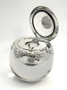 RARE VICTORIAN SILVER & GLASS INKWELL / INK WELL LONDON 1886