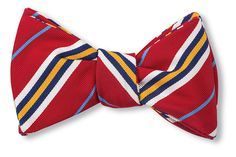 Red Silk & Cotton Bow Tie Woven in England Hand-made in USA Click for Bow Tie Styles R. Hanauer bow ties are made to order. If you are unsure about a color