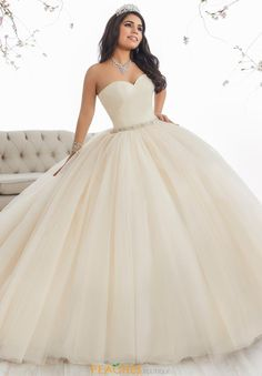 Make a grand entrance in a House of Wu Quinceanera Dress Style Number 26849 during your Sweet 15 party or any formal event. A beautiful strapless sweetheart ball gown has a gathered tulle bodice, drop Sweet 15 Dresses, Pretty Dresses, Beautiful Dresses, Elegant Dresses, Xv Dresses, Fashion Dresses, Prom Dresses, White Quinceanera Dresses, Wedding Dresses