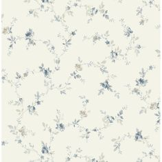 Trail from The Flora Collection by Wallquest Blue Floral Wallpaper, More Wallpaper, Wallpaper Samples, Floral Vintage, Vintage Paper, The Magnolia Story, Scandinavian Wallpaper, Leaf Illustration, Shabby Chic Homes