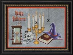 Spell Bound Counted Cross Stitch Pattern  #crossstitch #halloween #skull #spiders #witch_hat #candles #crossstitching #cross_stitch #pattern #theangelsnook #the_angels_nook #needlework #needlecraft #crafts