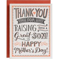 If you love the man you married, you love the person that raised them. Give your mother in law the love and appreciation she deserves with this typography letterpress card. Accompanied by papaya envelope. By Paper Source. Homemade Gifts For Boyfriend, Diy Gifts For Mothers, Mother In Law Gifts, Presents For Boyfriend, Mothers Day Quotes, Mothers Day Cards, Happy Mothers Day, Mother's Day Gift Card, Homemade Birthday Cards