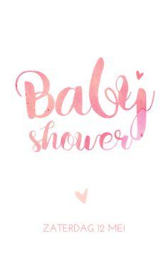 Lovz.nl   Tedere uitnodiging voor een babyshower met sierletters in waterverf look. Ook in babyblauw!