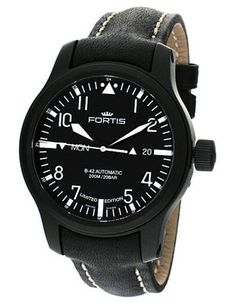 Fortis B-42 Black Flieger Automatic LE - Day/Date - Black Dial - Black Leather