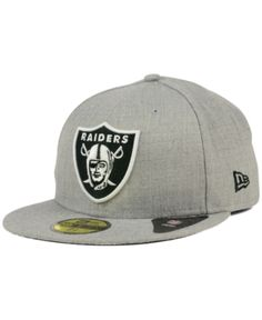 c6c48871deb New Era Oakland Raiders Heather Black White 59FIFTY Fitted Cap - Gray 7 1 4