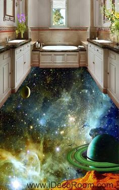 Saturn Planet Nebula 00071 Floor Decals 3D Wallpaper Wall Mural Stickers Print Art Bathroom Decor Living Room Kitchen Waterproof Business Home Office Gift