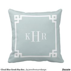 Cloud Blue Greek Key Border Custom Monogram Pillow