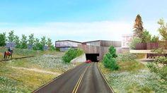 TUNNEL Slik vil dei nye, moderne bygga sjå ut frå fylkesveg 60, som i dag går i ein tunnel under Berliområdet. SKISSE: PLOT ARKITEKTER AS