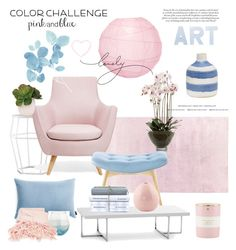 """Pink & Blue"" by rever-de-paris ❤ liked on Polyvore featuring interior, interiors, interior design, home, home decor, interior decorating, EMAC & LAWTON, Cultural Intrigue, GreenGate and Kate Spade"