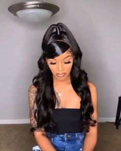 150 Density Brazilian Body Wave 370 Lace Front Human Hair Wigs With Baby Hair 370 Lace Wigs Pre Plucked Natural Hairline Hair Ponytail Styles, Weave Ponytail Hairstyles, Baddie Hairstyles, Sleek Ponytail, Black Girls Hairstyles, Down Hairstyles, Curly Hair Styles, Body Wave Hairstyles, Black Weave Hairstyles