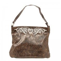 M Western Brown Faux Leather Heart Purse