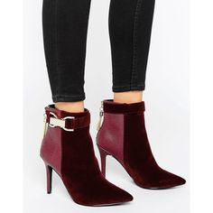 Forever Unique Thelma Chain Heeled Boot (¥9,365) ❤ liked on Polyvore featuring shoes, boots, red, high heeled footwear, red high heel boots, zip boots, high heel boots and velvet boots