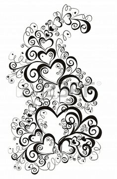 Illustration of Decorative hearts, element for design vector art, clipart and stock vectors. Heart Coloring Pages, Coloring Books, Kratz Kunst, Stencil, Easy Flower Painting, Free Adult Coloring, Heart Tattoo Designs, Heart Designs, Scratch Art