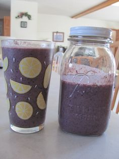 Breakfast for Today and tomorrow. ♥ Filled the blender half with fruit (frozen berries, A banana and some crushed pineapple from the fridge) and the other half with Spinach, 1 scoop of whey protein powder, some Kiefer (didn't measure how much.. how ever much the jar on the counter holds. ;) ) some Pineapple juice, 1 Tbsp of Honey and about 1/2 a cup of water. Delish! This may become my go-to breakfast. :)