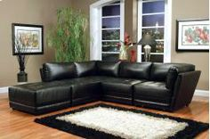 bonded black leather sectional