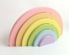 Pastel Rainbow Nursery Decor- Stacking Rainbow- Wooden Baby Toys- Baby Shower Gift Idea- Wooden Ornaments