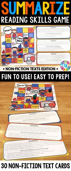 """Summarizing (Non-Fiction) Board Game contains 30 game cards and a game board to help students practice summarizing informational text. Each card contains a short non-fiction paragraph followed by the question, """"Which of the following best summarizes the passage?"""". Students have to select the correct answer from four possible choices."""