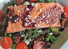 blackberry bacon and salmon arugula salad