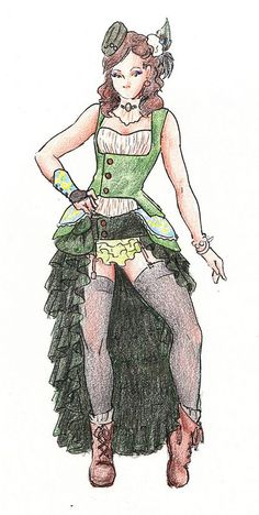 Steampunk Fashion Sketch  Steampunk, a DIY-emphasized fashion and novel genre, combines Victorian styles with a bit of a punk flare. 30  Cool Fashion Sketches, http://hative.com/30-cool-fashion-sketches/,