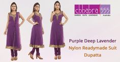 Visit Chhabra555 online store and select Purple Deep Lavender Nylon  Readymade Suit Dupatta @ $164.95 AUD in Australia. For Bulk orders at special prices write to us at customercare@chhabra555com.au or call us at 1800 289 555