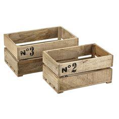 2 houten kisten, 29 x 47 cm en 35 x 54 cm, ARMEL