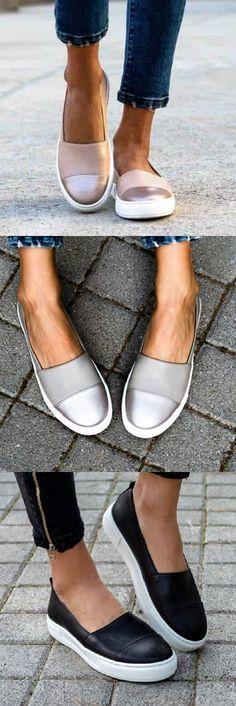 Women's All Season Slip-On Round Toe Loafers Women's Summer Fashion, Look Fashion, Fashion Boots, Sneakers Fashion, Womens Fashion, Moda Sneakers, Sneakers Mode, Casual Sneakers, Shoes Sneakers