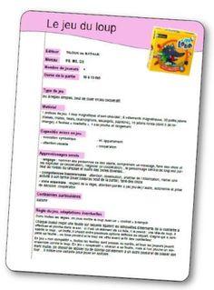 Le jeu du loup fiche de préparation, jeux coopération maternelle Classroom, Journal, Education, Commerce, School, Maths, Cycle 1, Boxing, French Tips
