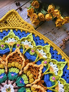 Ravelry: Green Tea Block pattern by Jen Tyler Crochet Mandala Pattern, Crochet Stitches, Knit Crochet, Crochet Blocks, Crochet Squares, Crochet Circles, Half Double Crochet, Single Crochet, Crochet Doilies