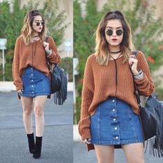 Jean Skirt Outfits, Casual Skirt Outfits, Sweater Outfits, Denim Skirts, Jean Skirts, Midi Skirts, Long Skirts, Denim Overalls, Denim Skirt Outfit Winter