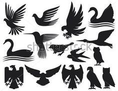 conjunto de siluetas de pájaros (conjunto de aves, colibrí, Paloma ...