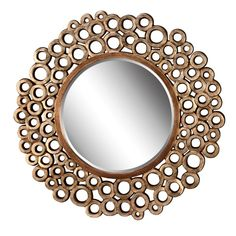 Modern Style Circle Mirror With Circle Design In Gold Finish Free Shipping New