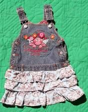 OILILY DRESS SIZE 80 2T ANGELFACE DENIM DRESS ROMPER WINGS ON BACK CORDOROY RUFF