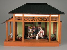 A traditional Japanese house in miniature displayed at The Strong National Museum of Play.