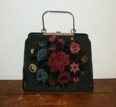Vintage 1950s CARPET BAG black with rose print