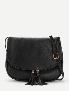 9f3809fd0c Shop Double Tassel Flap PU Crossbody Bag online. SheIn offers Double Tassel  Flap PU Crossbody