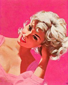 Platinum and pink! #vintage #1950s #art #hair #Jon_Whitcomb