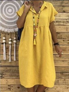 JustFashionNow Plus Size V-Neck Women Summer Dress Shift Daily Dress Short Sleev. - JustFashionNow Plus Size V-Neck Women Summer Dress Shift Daily Dress Short Sleeve Casual Solid Dres - Casual Summer Dresses, Summer Dresses For Women, Dress Casual, Casual Outfits, Plus Size Dresses, Short Sleeve Dresses, Maxi Dresses, Fashion Dresses, Women's Fashion