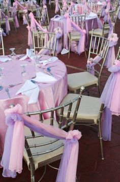 Make your chair decorations sizzle by combining two colors together. Tie them to the chairs with unique knots or a dramatic diagonal sweep instead of the traditional bows.
