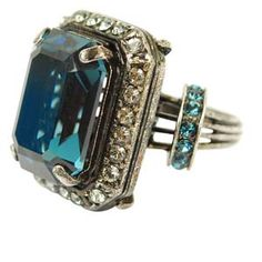 Lanvin Rock Stone Ring in Med Blue.