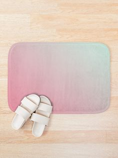 """Pink Green Sunrise Dawn Gradient Color"" Bath Mat by ind3finite 