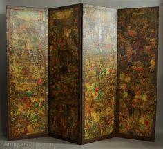 19th Century Four Panel Folding Decoupage Screen - Antiques Atlas