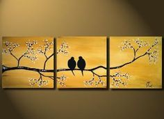 Gold Love Birds Painting Original LARGE Canvas 36x12 by OritArt