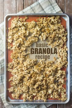 Granola Best ever basic granola recipe- this can be customized in a million different ways, but it's really amazing as-is too!Best ever basic granola recipe- this can be customized in a million different ways, but it's really amazing as-is too! Brunch Recipes, Gourmet Recipes, Baking Recipes, Breakfast Recipes, Snack Recipes, Dessert Recipes, Freezer Recipes, Drink Recipes, Tasty Snacks