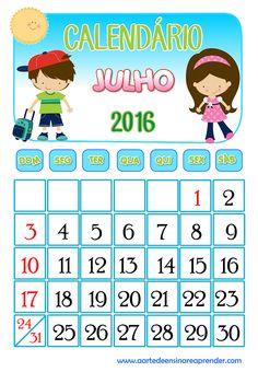 Calendário 2016 - Julho