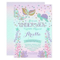 #glitter - #Mermaid Birthday Invitation Under The Sea Party