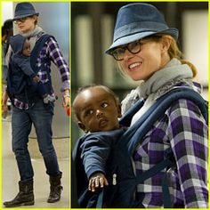 Connie Britton in her ERGObaby with Eyob - February 21, 2012