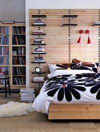 Čelo postele Mandal, bříza, s nastavitelnými policemi, 240 x 28 x 62 cm, cena 2 990 Kč, www.ikea.cz