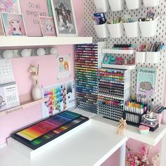 Likes, 340 Comments - Bujo journal identity Craft Room Design, Room Design Bedroom, Girl Bedroom Designs, Room Ideas Bedroom, Cute Room Ideas, Cute Room Decor, Craft Room Organisation, Stationary Organization, Craft Room Storage